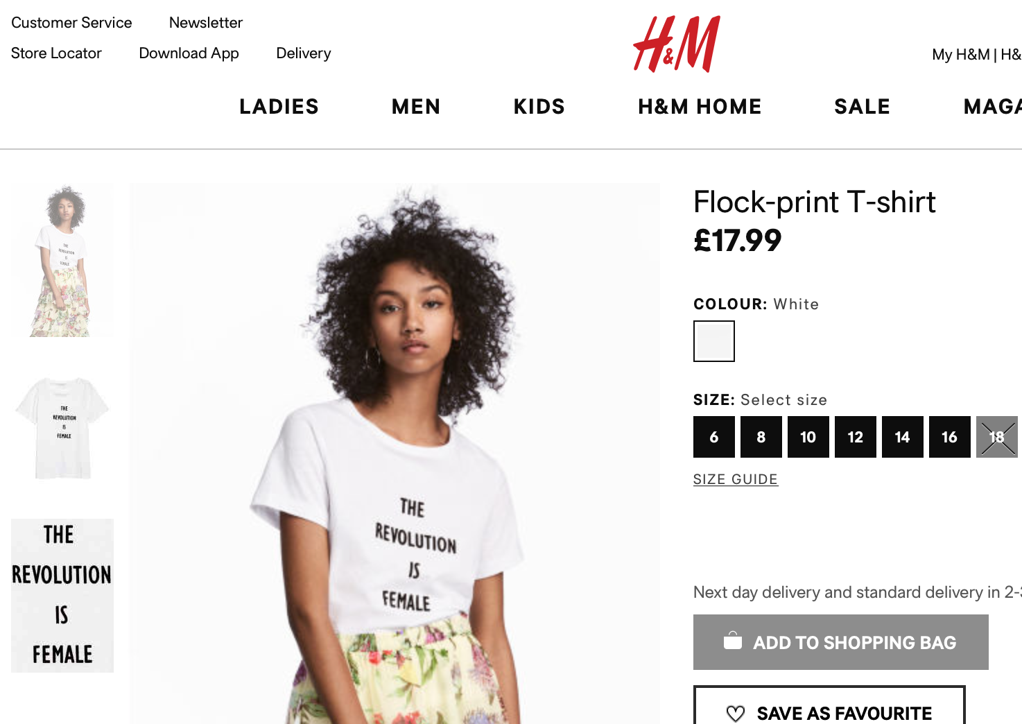 H&M The Revolution is Female T-shirt