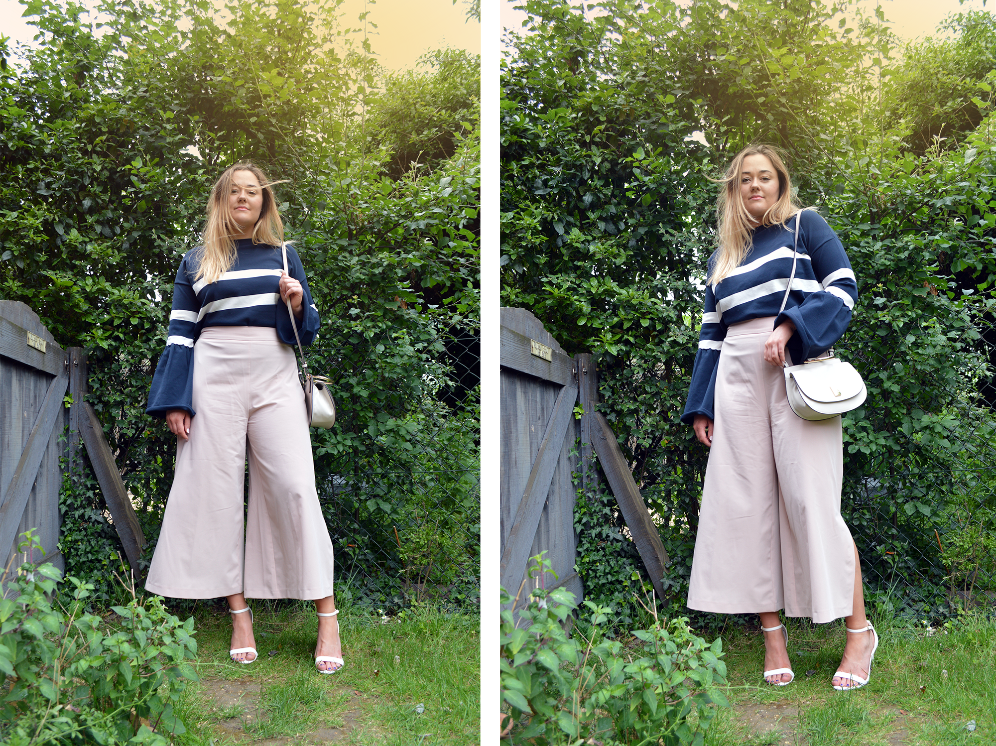 Hannah wearing nude coloured culottes with slit in the side with a striped navy knitted jumper with over-sized flared sleeves