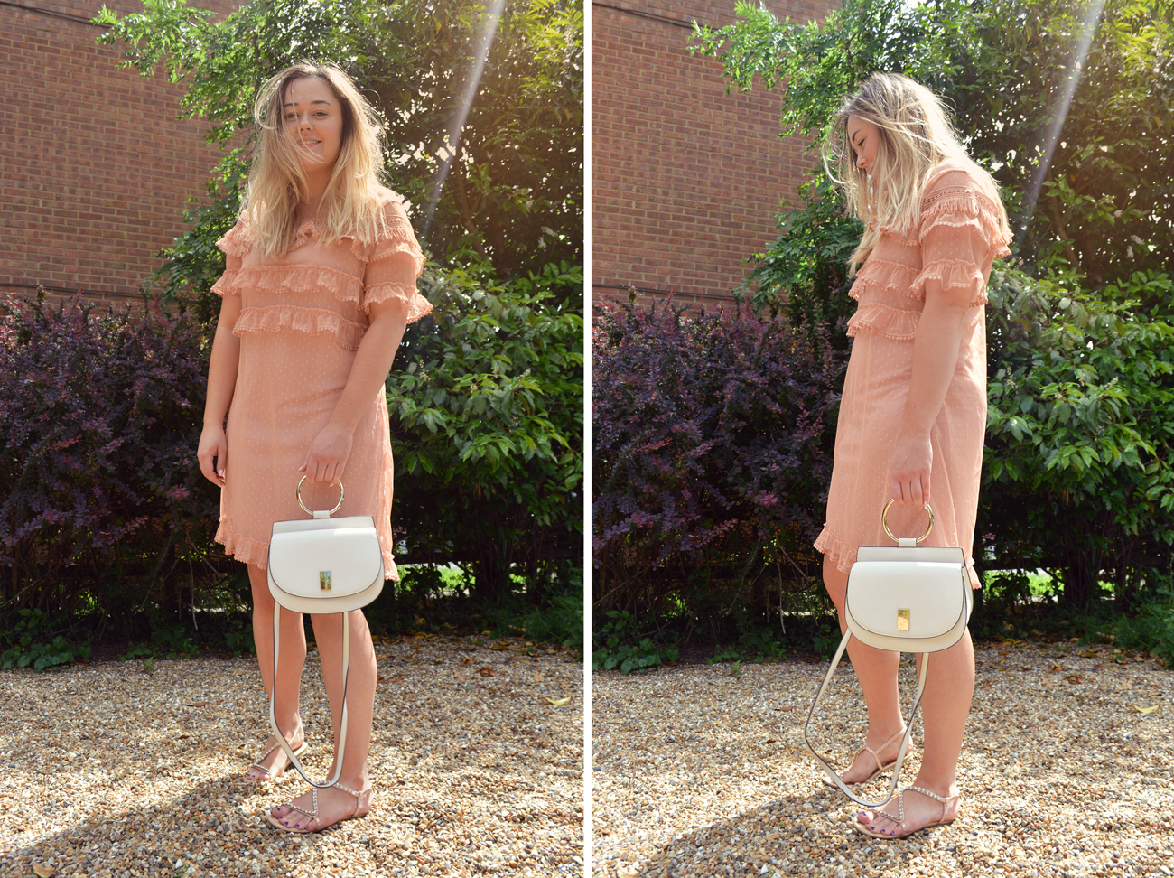 Hannah Gladwin wearing Asos River Island blush pink dobby dress with tiered chiffon and lace, holding the Mango bag