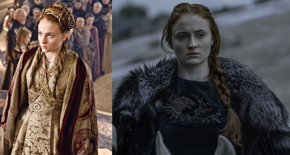 Sansa - left in her wedding dress marrying Tyrion and right in season six in a green robe 5 with a wolf embroidered