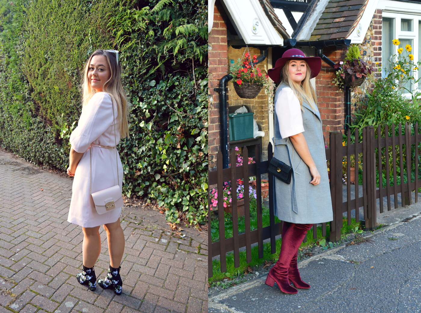 Summer outfit and autumn outfit. Summer to Autumn style - Ted Baker dress.
