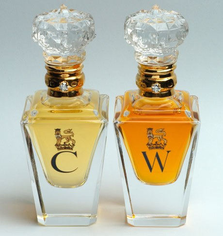 "The bespoke perfume bottles presented to Catherine and Prince William on their wedding day. The his and hers matched pair of Clive Christian No. 1 Perfumes with gold etched initials for Catherine and William. The perfume bottles are hand-cut crystal with a brilliant-cut diamond solitaire embedded in them. A ""C"" is etched in gold on the women's, and a ""W"" on the men's—a gift fit for a royal pair."