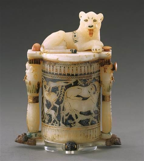 King Tut (King Tutankhamun Exhibit - Cosmetic Jar with a Recumbent Lion on the Lid)
