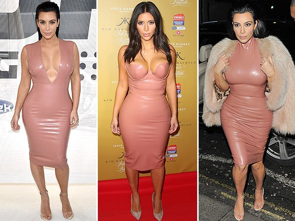 Kim Kardashian wearing some god awful latex, shiny, nude colour dress