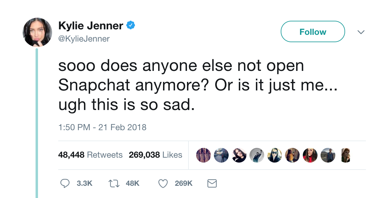 Kylie Jenner's tweet: 'sooo does anyone else not open Snapchat anymore? Or is it just me... ugh this is so sad.'