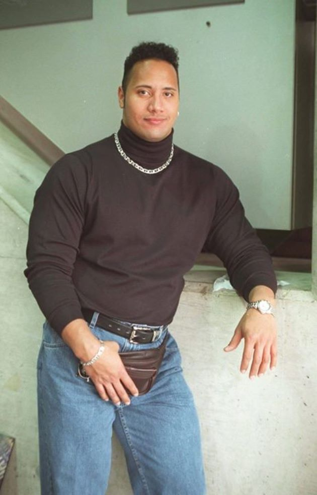 The rock rocking a turtleneck