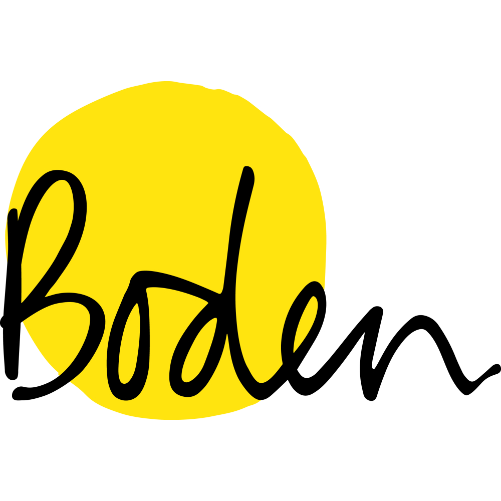 Boden logo with yellow background